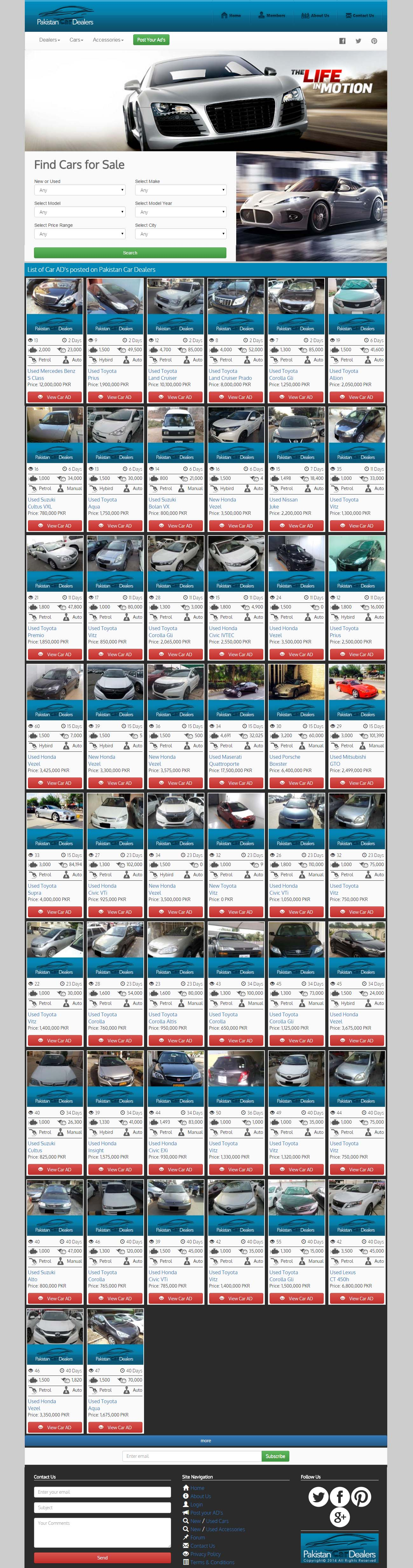 Pakistan Car Dealers Website Snap Shot